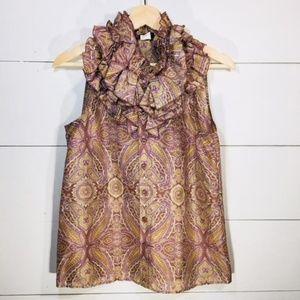 J CREW Women's 4 100% Silk Paisley Ruffle Blouse